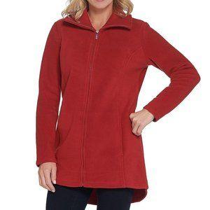 Denim & Co. Fleece Jacket Hi-Low Hem Red XL L1019